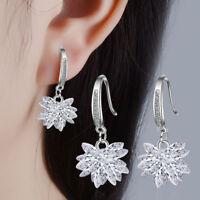 925 Sterling Silver Zircon Ice Flower Ear Hook Drop Earrings Women Party Jewelry