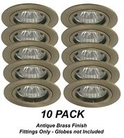 10 x Antique Brass Fixed Downlight Fittings 12V MR16 -  70mm cutout