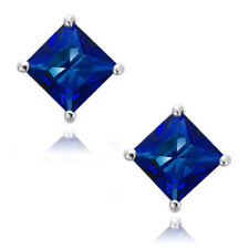 Cut Sapphire Blue Cz Stud Earrings New White Gold Filled 7mm Princess Square