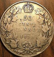 1918 CANADA SILVER 50 CENTS COIN