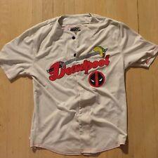 Deadpool 91 2-Sided Mens M Marvel White Baseball Jersey Button Shirt Taco Sword