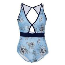 Marilyn Monroe Swim Suit Plus Size 2X Blue Floral Padded One Piece NWT B18-7