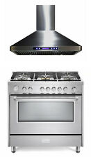 """Verona Designer Series 36"""" All Gas Range Oven With Hood Package Stainless Steel"""