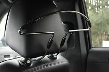 IN CAR CHROME HEADREST SEAT MOUNTED CLOTHES HANGER FOR COATS JACKETS UNIVERSAL