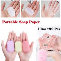 20pcs Disposable Soap Paper Clean Scented Slice Mini Paper Soap Outdoor Travel