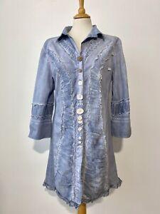 Elisa Cavaletti Club Cotton Blend Blue Tunic/Long Shirt , Size:XXL