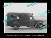 OLD POSTCARD SIZE PHOTO OF INTERNATIONAL HARVESTER D15 AMBULANCE RAAF 1941 1