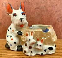 Vintage Porcelain Dog Ashtray Scottie Scotty Terrier with Puppies Made in Japan
