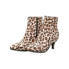 Retro Leopard Ladies Booties Kitten Heels Ankle Boots Casual Shoes Size 2-11.5