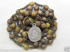 "† SCARCE 1700s ANTIQUE ""ST JOSEPH OF A HAPPY DEATH BOVINE WOOD CHAPLET ROSARY †"