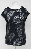 PHASE EIGHT Ladies Navy Blue Silver Leaf Print Sleeveless T-Shirt UK8 NEW