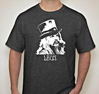 Leon Russell t shirt blues rock artist hand screen printed BIG SIZES Heather Nvy