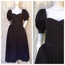 Dress Vintage LAURA ASHLEY 80s Black Victorian Bustier 4 6 Wedding Cocktail Vamp