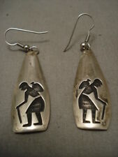 IMPORTANT OLD HOPI SILVER EARRINGS