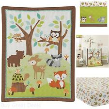 Bedtime Bedding Sets Originals Friendly Forest Woodland, 3 Piece Bedding Set,