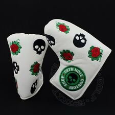 19th Hole Custom Shop Skull & Rose Head Cover Blade Midsize Mallet Putter, White