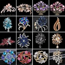 Vintage Rhinestone Crystal Flower Wedding Bridal Bouquet Brooch Pin Jewelry Gift