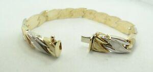 "10K Y & W Two Tone Gold Hollow Matte Brushed Wavy Link Bracelet 7.25"" 9.4g M118"