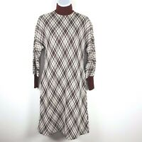 Vintage Kimberly Plaid Dress Sz L Red Plaid Wool 1960s 1970s Mod Turtleneck T20