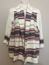 NWT Style&Co. Women's Plus Size 1X Ivory Combo Jacquard Open Front Cardigan
