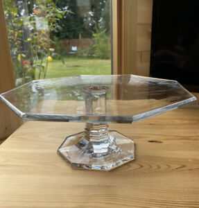 Tiffany And Co Glass Cake Stand Pedestal Wedding Display Octagon Crystal Unusual