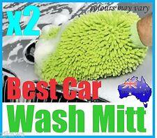 2x MICROFIBRE CAR HOME WASH CLEANING MITT GLOVE CLOTH DUSTER RRP$9.50each