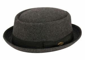 Round Shape Wool Fedora Hat w/Grosgrain Band Classic Pork Pie Stingy Brim