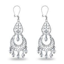 Two Tier Chandelier Earrings 14k White Gold Hearts Hanging Filigree Diamond Cut