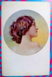 GUERZONI Italian artist Fashion Glamour Girl Series 1016/2 PC Circa 1918 A