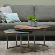 Nested Coffee Table Set Of Two Wood & Metal Side Table Tables Living Room