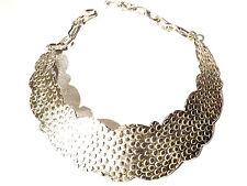 Bijou étain argenté  collier Biche de Bere  demi plastron mouton  necklace