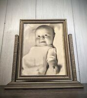 Antique Wooden Pivot Swing Swivel Tinted Picture Frame Wedding Photo Table Top