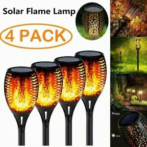 4X Solar Powered LED Tiki Torch Garden Flame Flickering Lights Waterproof Lamp