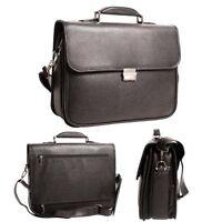 Mens Ladies Laptop Business Leather PU Large Case Combination Lock Black