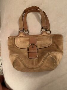 VINTAGE COACH BAG TAN SUEDE LEATHER FRONT FLAP SIGNATURE LINING