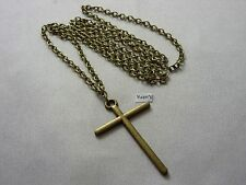 "x 30mm) Long ( 30"" ) Chain Necklace A Large Bronze Style Cross Charm Pendant (48"