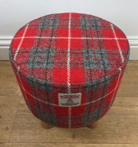 New Footstool made with Harris Tweed Fabric Red and Grey Tartan