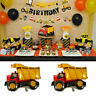 Construction Digger Happy Birthday Decorations Bunting Party Balloons