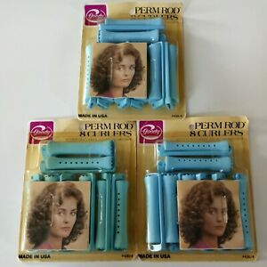 Lot of 3 8-pack Vintage 90s Goody Blue Large Perm Rod Curlers Snap Lock Clasp