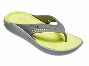 NWT - CROCS Women's 'LITERIDE' Grey/Green SLIP-ON OPEN-TOE FLIP FLOP SANDALS - 8