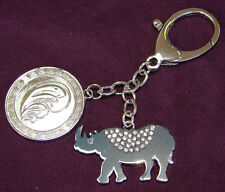 Feng Shui Blue Rhino Elephant Keychain Anti Burglary Amulet for Flying Star #7