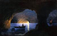 Art Oil Ivan Constantinovich Aivazovsky - Azure grotto Naples Seascape & canoes