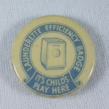 Vintage Launderette Efficiency Pin Badge 'It's Child's Play Here'