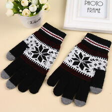 Hot Ladies Mens Touch Screen Smart Knitted Gloves Fairisle Snowflake Design Warm