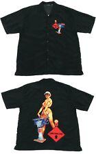 Vintage Graphic Pin-Up Shirt | Medium | Party Cartoon Button Y2K 90s Retro