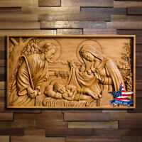 Holy Family Wood Carved icon picture painting sculpture statue figure artwork 3d