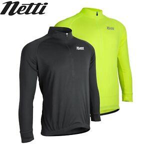 Netti Sunshield Long Sleeve Mens Cycling Jersey UV Protection - Black, Yellow