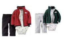 Carters 3-Piece Cardigan Two Set Zip-front Design Baby Boy Clothes 12M Bodysuits