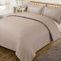 Hotel Quality Stripe Satin T300 100% Cotton Duvet Cover Bedding Set Color BEIGE