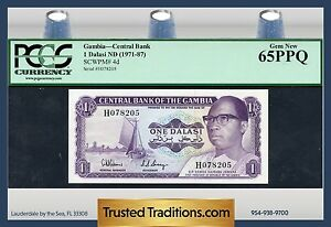 TT PK 4d 1971-87 GAMBIA CENTRAL BANK 1 DALASI BOAT PCGS 65 PPQ GEM NEW